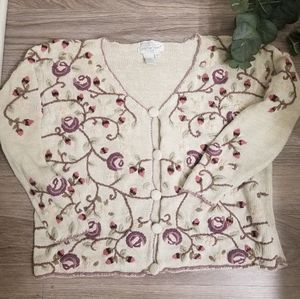 Jennifer Reed Knitted by Hand Floral Cardigan